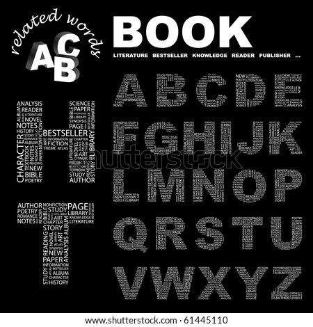 BOOK. Vector letter collection. Illustration with different association terms. - stock vector