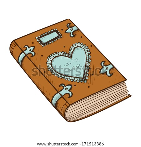 Book with decorative heart. Sketch vector design element for Valentine's day - stock vector