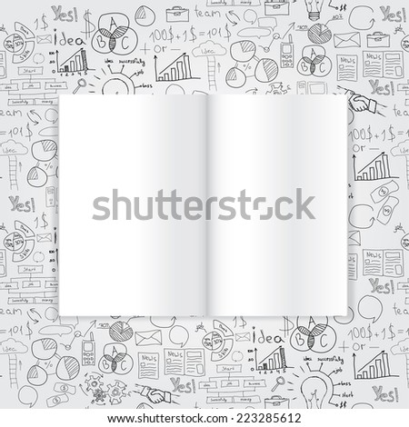 Book with drawing charts and success business strategy plan. - stock vector
