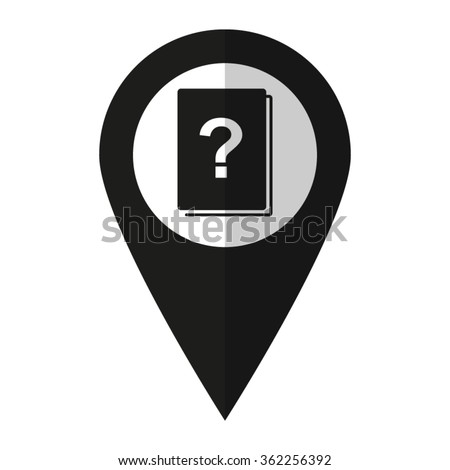Book with question mark - vector icon;  black map pointer - stock vector