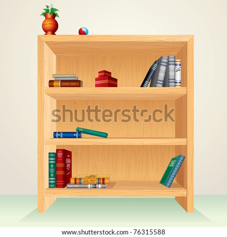 Bookcase with books, magazines and other items, all vector elements separated and grouped - stock vector