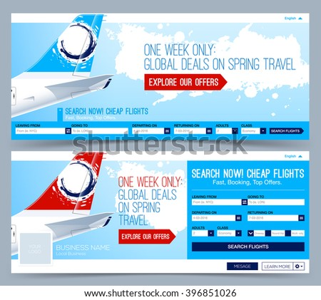 Booking tickets flight Template. Search Flights. Web Banner, Header Layout Template. Creative cover. - stock vector