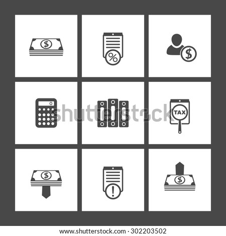Bookkeeping, finance, flat square icons, vector illustration, eps10, easy to edit - stock vector