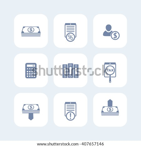 Bookkeeping, finance, payroll icons isolated on white, payroll pictogram, bookkeeping sign. vector illustration - stock vector