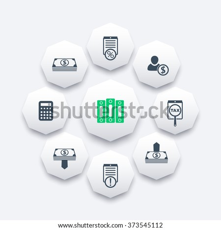 Bookkeeping, finance, payroll, rates octagon icons, vector illustration - stock vector