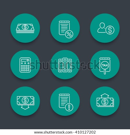 Bookkeeping line icons, finance, tax, accounting green round icons set, vector illustration - stock vector