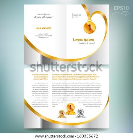 booklet catalog brochure design template vector folder leaflet award winner element gold color white background - stock vector
