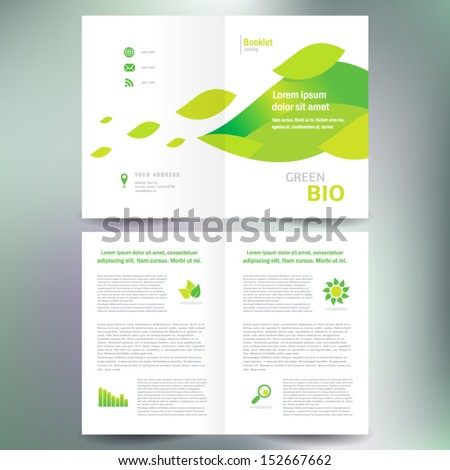 booklet catalog brochure folder bio eco green leaf nature abstract element white color background - stock vector