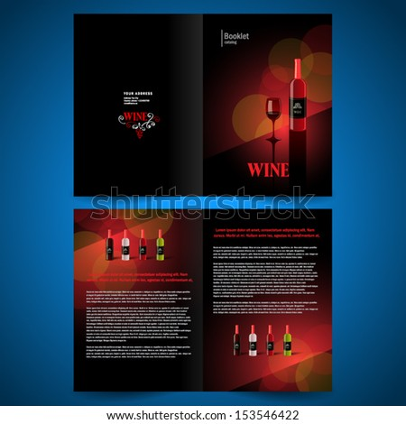 booklet catalog brochure folder wine red vine bokeh black background - stock vector