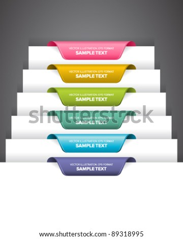 Bookmark labels, stickers or indications on the edge of a page. - stock vector