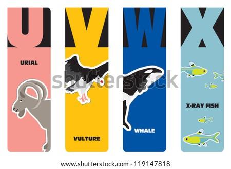 Bookmarks Animal Alphabet U Urial V Stock Vector 119147818 ...