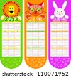 Bookmarks-calendar on a 2013 year with three cute animals - stock photo