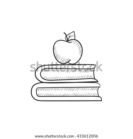 Books and apple on top vector sketch icon isolated on background. Hand drawn Books and apple on top icon. Books and apple on top sketch icon for infographic, website or app. - stock vector