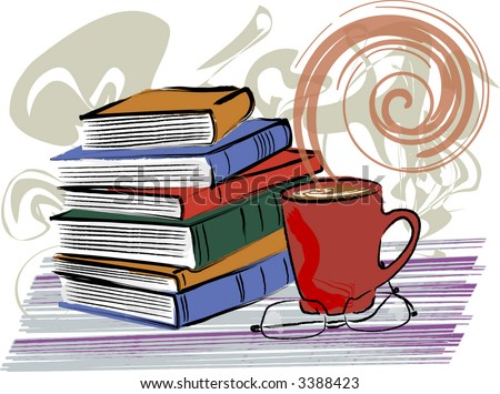 Books and coffee are featured in this grunge-style vector illustration. - stock vector