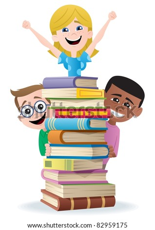 Books and Kids. No transparency used. Basic (linear) gradients used. - stock vector