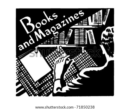 Books And Magazines - Retro Ad Art Banner - stock vector