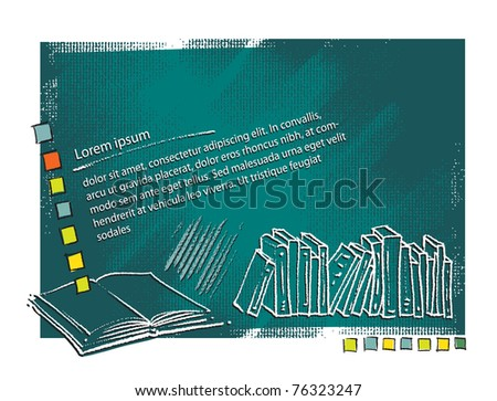 Books - artistic background, blank text template (painterly style, vector drawing) - stock vector