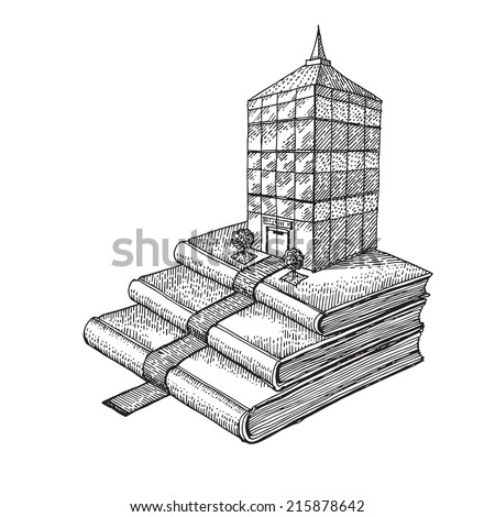 Books as a stair to success which leads to big building - stock vector