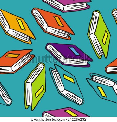 books cartoon illustration seamless pattern - stock vector