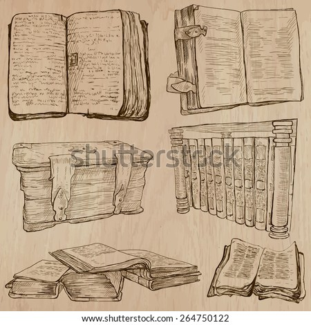 BOOKS. Collection of an hand drawn illustrations (line art vectors - pack no.2). Each drawing comprises several layers of lines, the colored background is isolated. Editable.