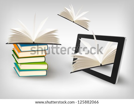 Books flying in a tablet. Vector illustration - stock vector