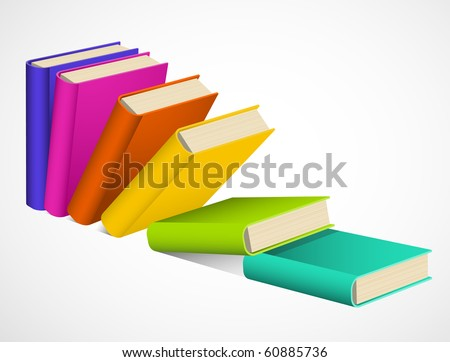 Books have a domino effect - stock vector