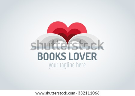 Books heart vector logo. Book and heart icons. Books open. Books isolated on white. Book logo. Books love. Back to school books. Education books, university, books symbol, book stack. Book vector logo - stock vector