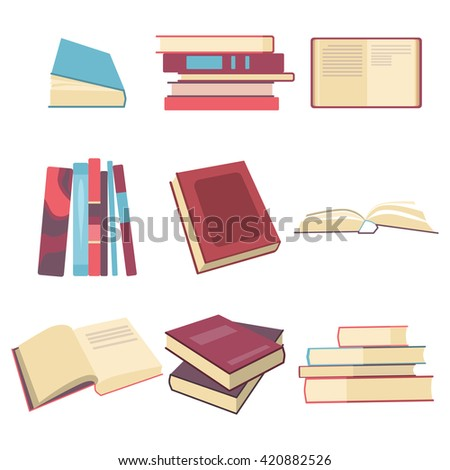 Books icon set in flat design style. Art book object group. Vector illustration sign eps10 - stock vector