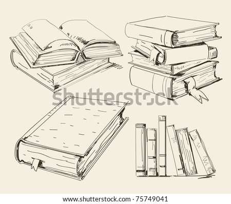 Books in different positions and styles - stock vector