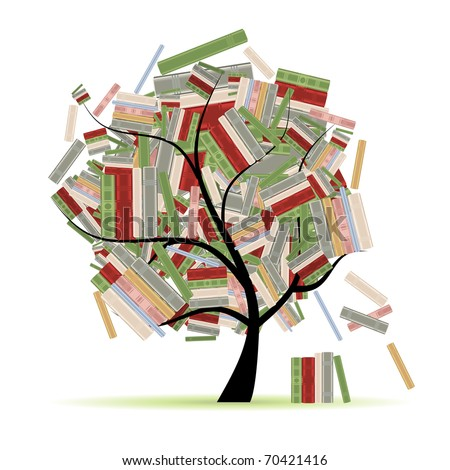Books library on tree branches for your design - stock vector