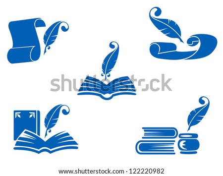 Books, manuscripts and feathers icons set for education industry design, such as emblem. Jpeg version also available in gallery - stock vector