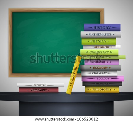 Books of different school disciplines on the desk, behind the blackboard. Eps 10 - stock vector