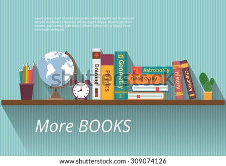 Books on bookshelf. Study knowledge, furniture and wall, textbook, and information, encyclopedia science, vector illustration - stock vector