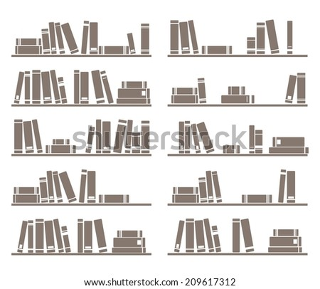 Books on shelf vector illustration isolated on white background  - stock vector