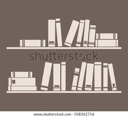 Books on the shelves simply vector retro illustration. Vintage school library objects and wisdom symbol on dark chocolate brown background for decorations, textures or interior design wallpaper. - stock vector