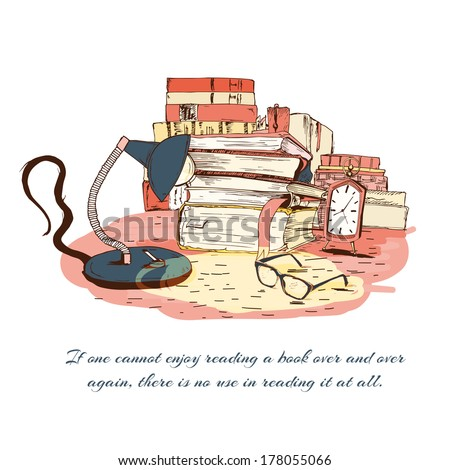 Books reading still life with glasses lamp and clock isolated vector illustration - stock vector
