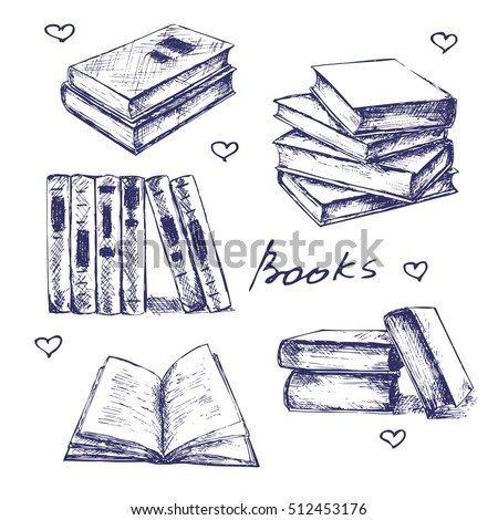 Books set hand drawn vector illustration sketch. Opened and closed books, books on the shelf, stacked books and single book isolated on white background.