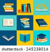 Books set in flat design style, vector illustration  - stock vector