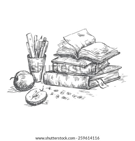 Books set. Pen sketch converted to vectors. - stock vector