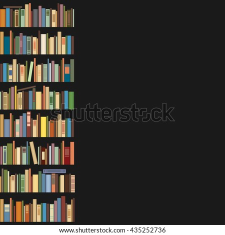 Books standing in a row on a dark background. Space for text. - stock vector