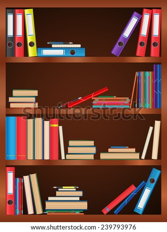 Books, textbook, notebook, folder, bookcase, shelf, pen, pencil. Design of vector illustrations. Image, sign, icon, symbol, object, background, picture, creative, concept, element - stock vector