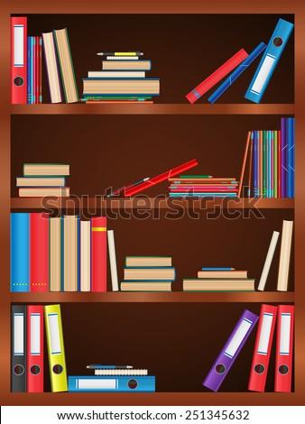 Books, textbook, notebook, folder, bookcase, shelf, pen, pencil. Design of vector illustrations. Image, object, background - stock vector