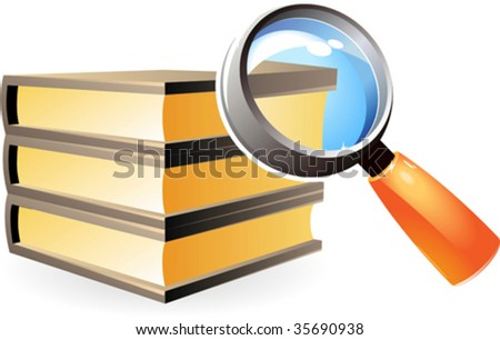 Books under magnifying glass. Vector illustration.