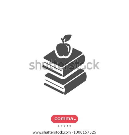 Books Vector Icon Book Apple Symbol Stock Vector 2018 1008157525