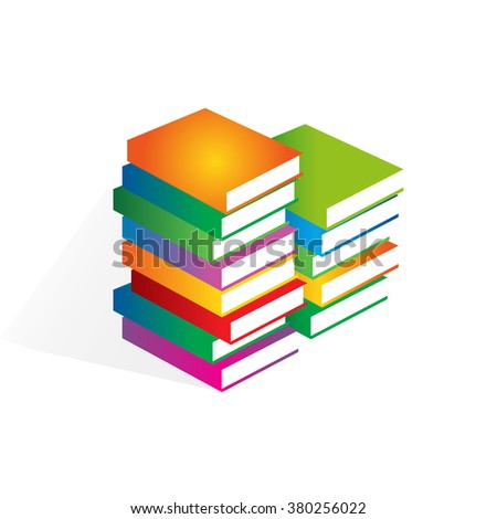 Books vector illustrator. Stack of colored books. Learning logo. Education icon.  - stock vector