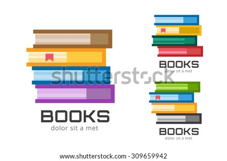 Books vector logo icons set. Sale background. Book logo. Book open. Back to school background. Education, university, college symbol or knowledge, books stack, publish, page paper. Book icons isolated - stock vector