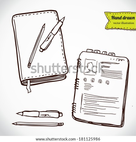 Books with pen and pencil. Office stuff set. Hand drawing sketch vector illustration - stock vector