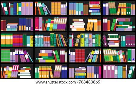 Bookshelf Background Shelves Full Colorful Books Stock Vector ...