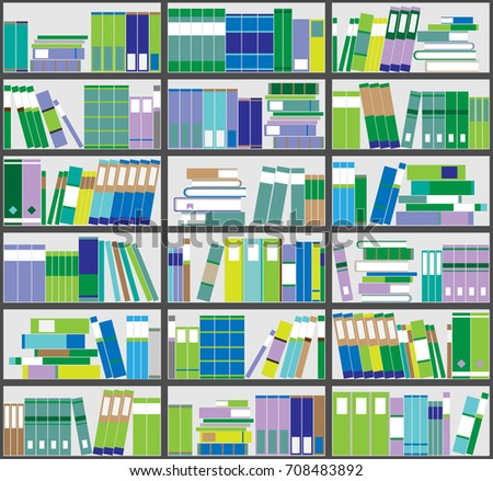 Bookshelf Background Shelves Full Of Colorful Books Home Library With Vector Close