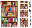 Bookshelf: Cartoon illustration of a bookshelf in 5 different versions.  No transparency used. Basic (linear) gradients used. - stock photo
